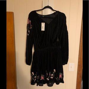 Velour black dress